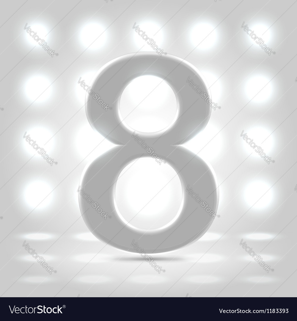 8 over back lit background vector