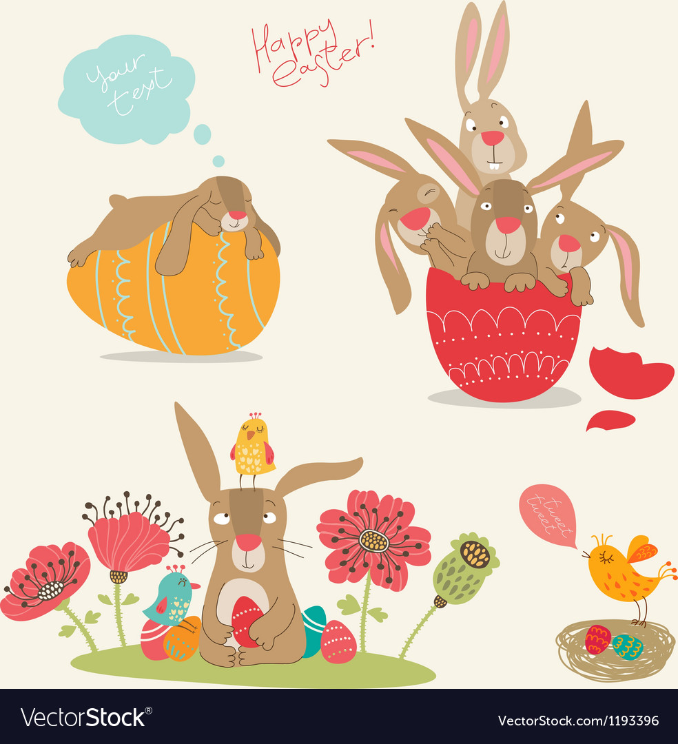 Hand-drawing pictures of easter vector