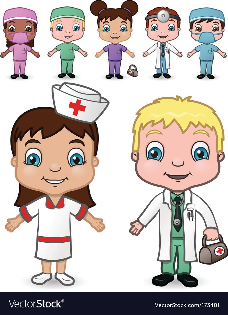 Doctors and nurses set vector