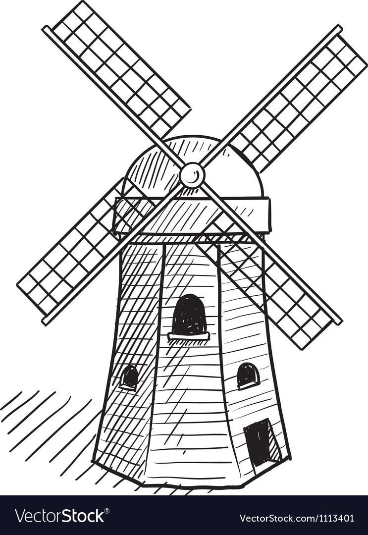 Doodle windmill dutch vector