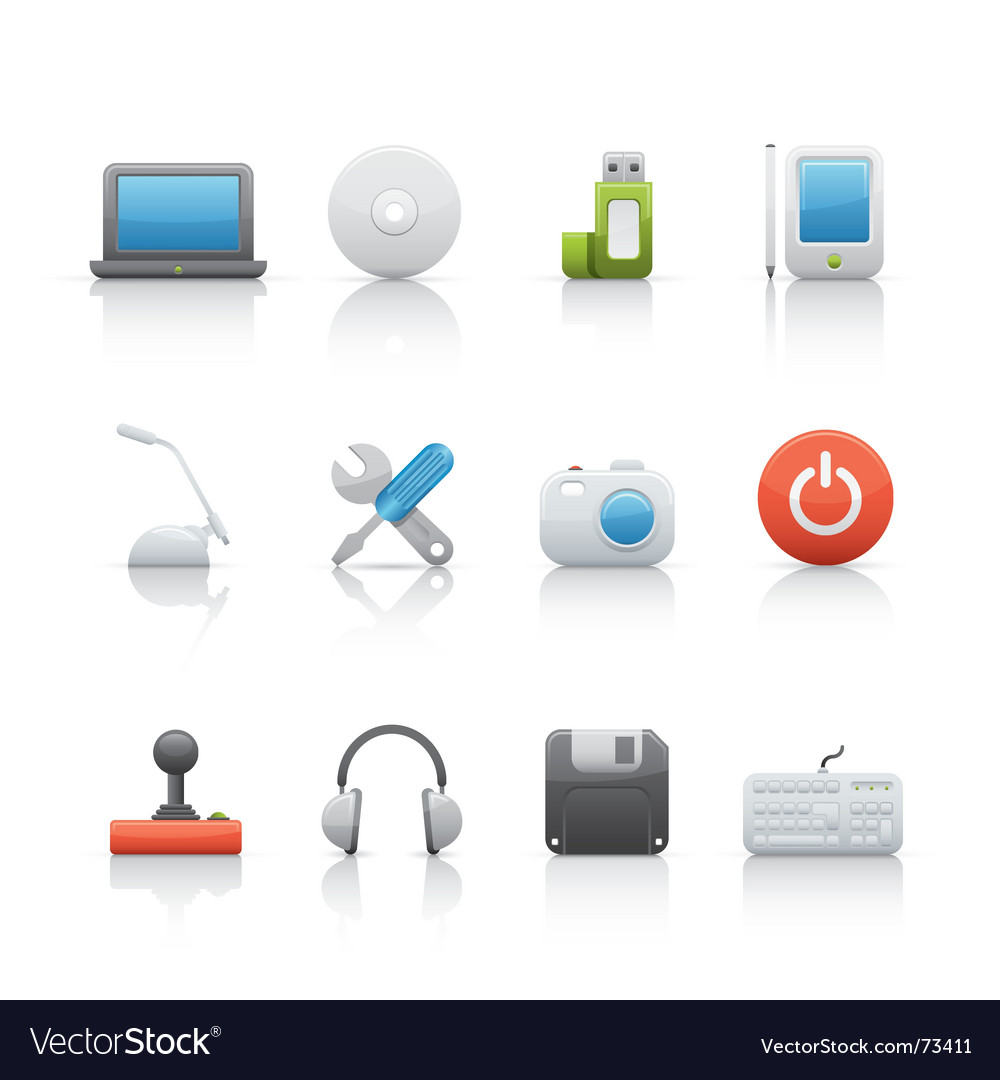 Computer equipment icons vector