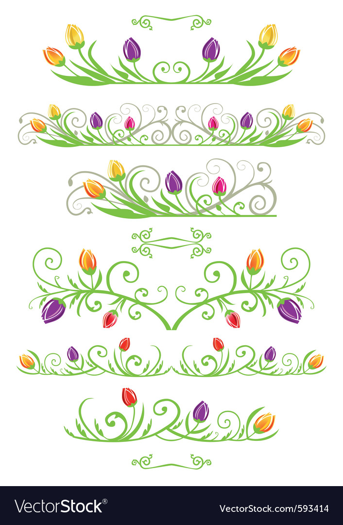 Tulip spring borders vector art - Download Border vectors - 593414