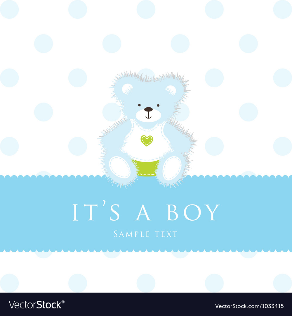 Baby boy teddy card vector