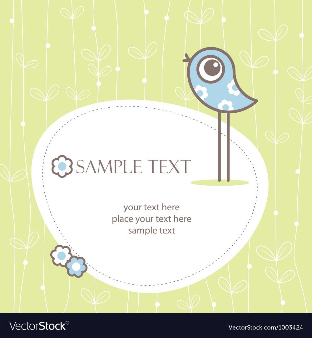 Greeting card winh cute bird vector