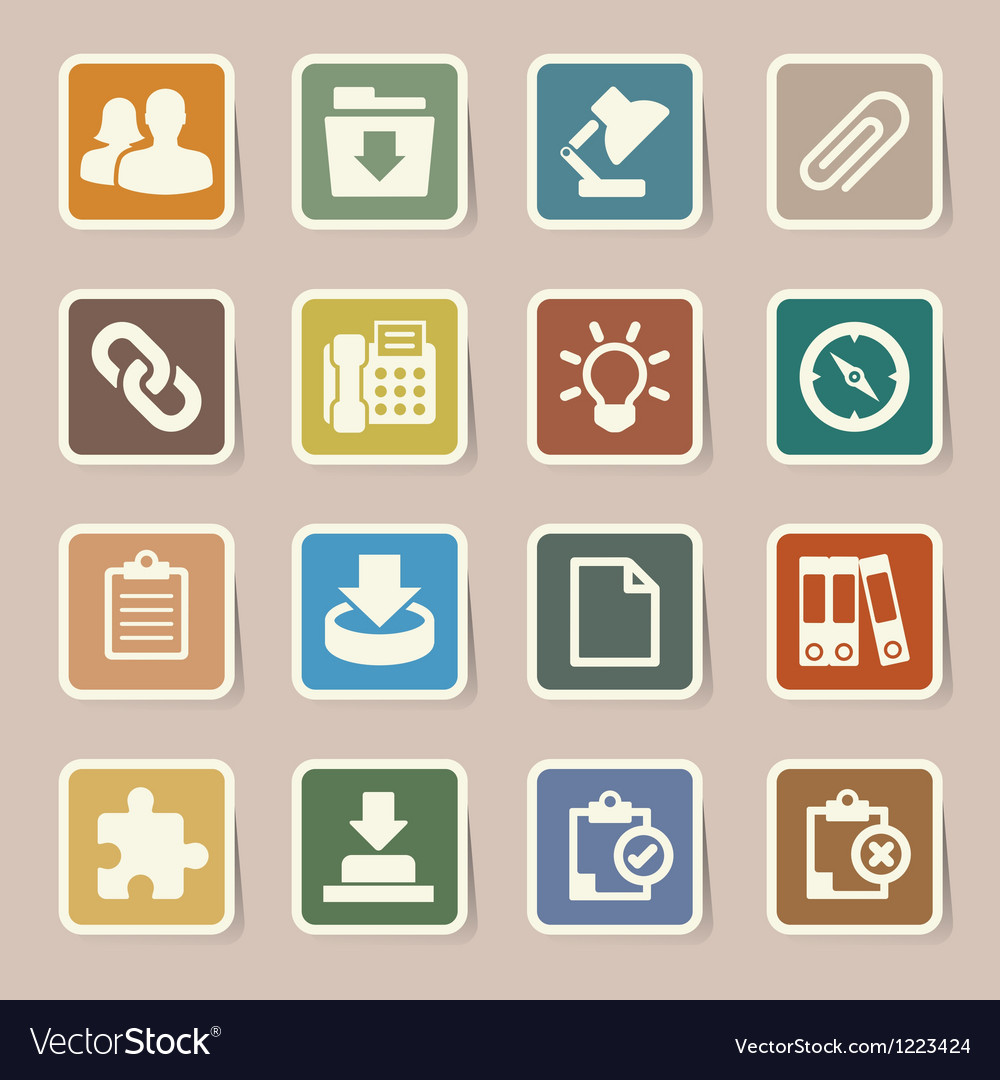 Office sticker icons set vector