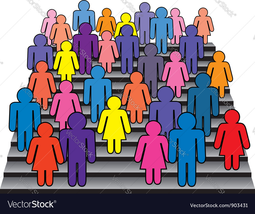 Men and women on stairs vector