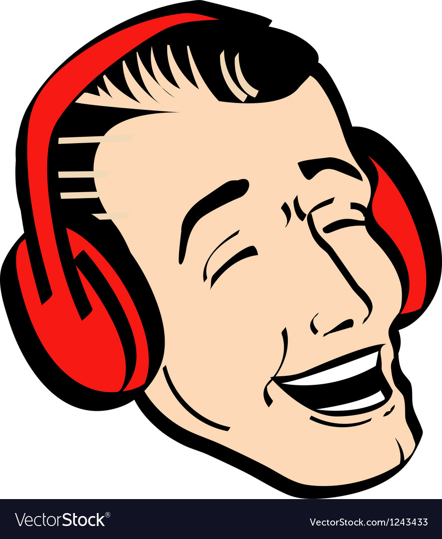 Retro man earmuffs vector