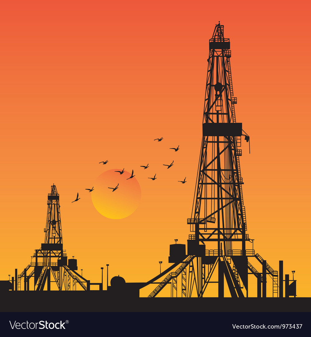 Oil rig silhouettes vector