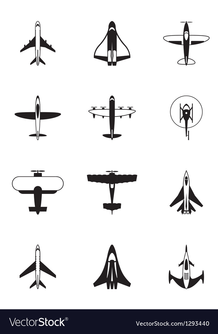 Different aircrafts vector