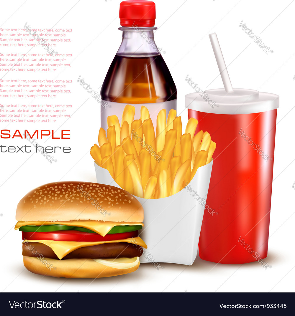 Group of fast food products vector