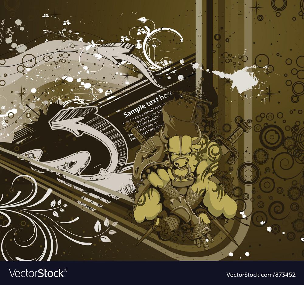 Warriror with grunge background vector