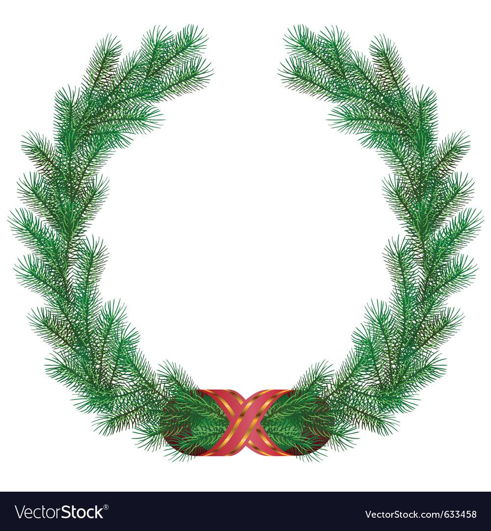 Christmas fir branch wreath frame vector
