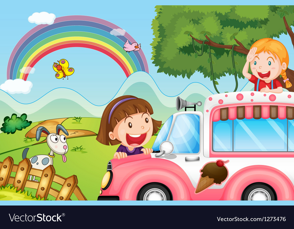The pink icecream bus and the two happy girls vector