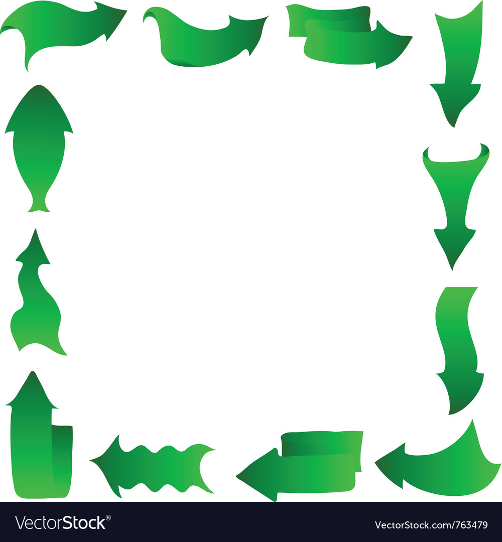 Abstract arrows frame green vector