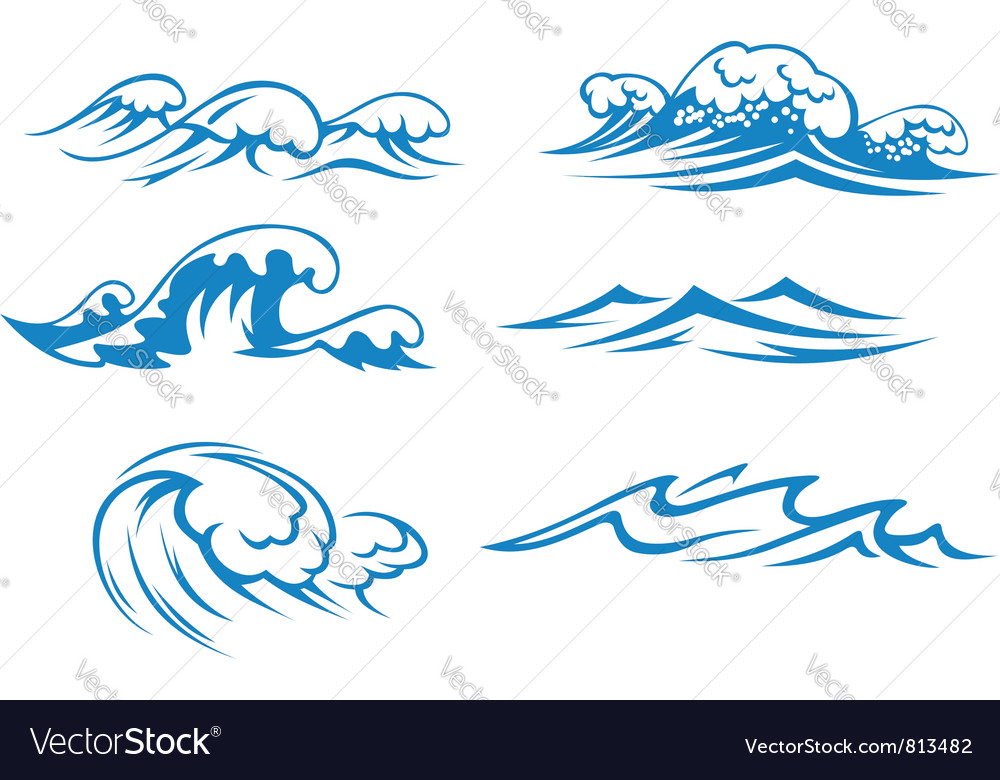 Ocean and sea waves vector