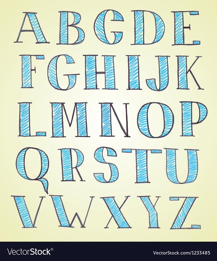 Doodle hand drawn sketch alphabet vector
