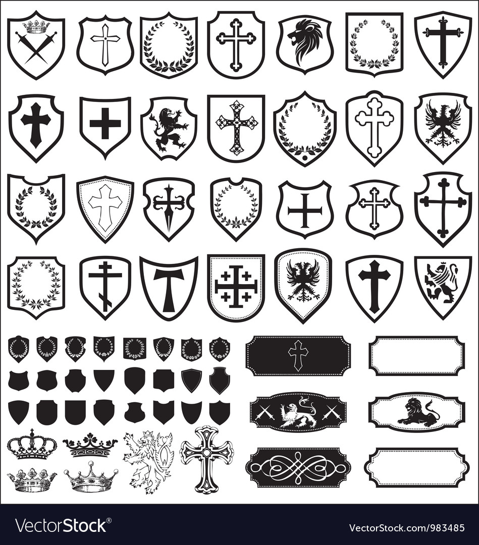 Shields and cross heraldy set vector