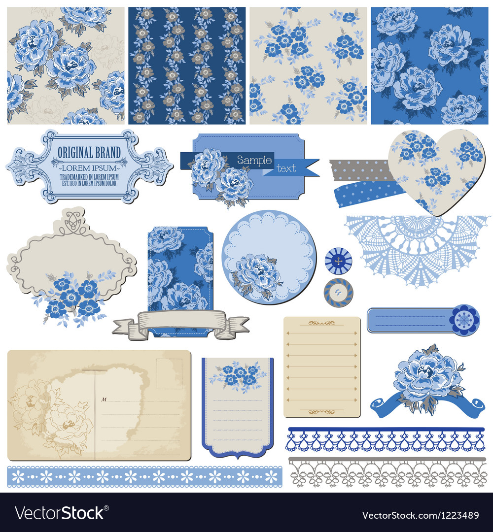 Vintage blue flowers vector