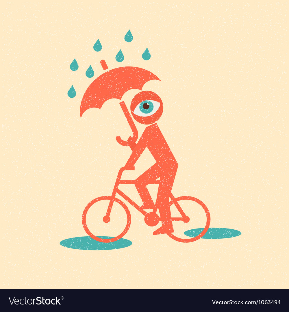 Cyclist retro poster vector
