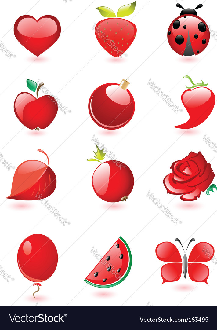 Red icons vector