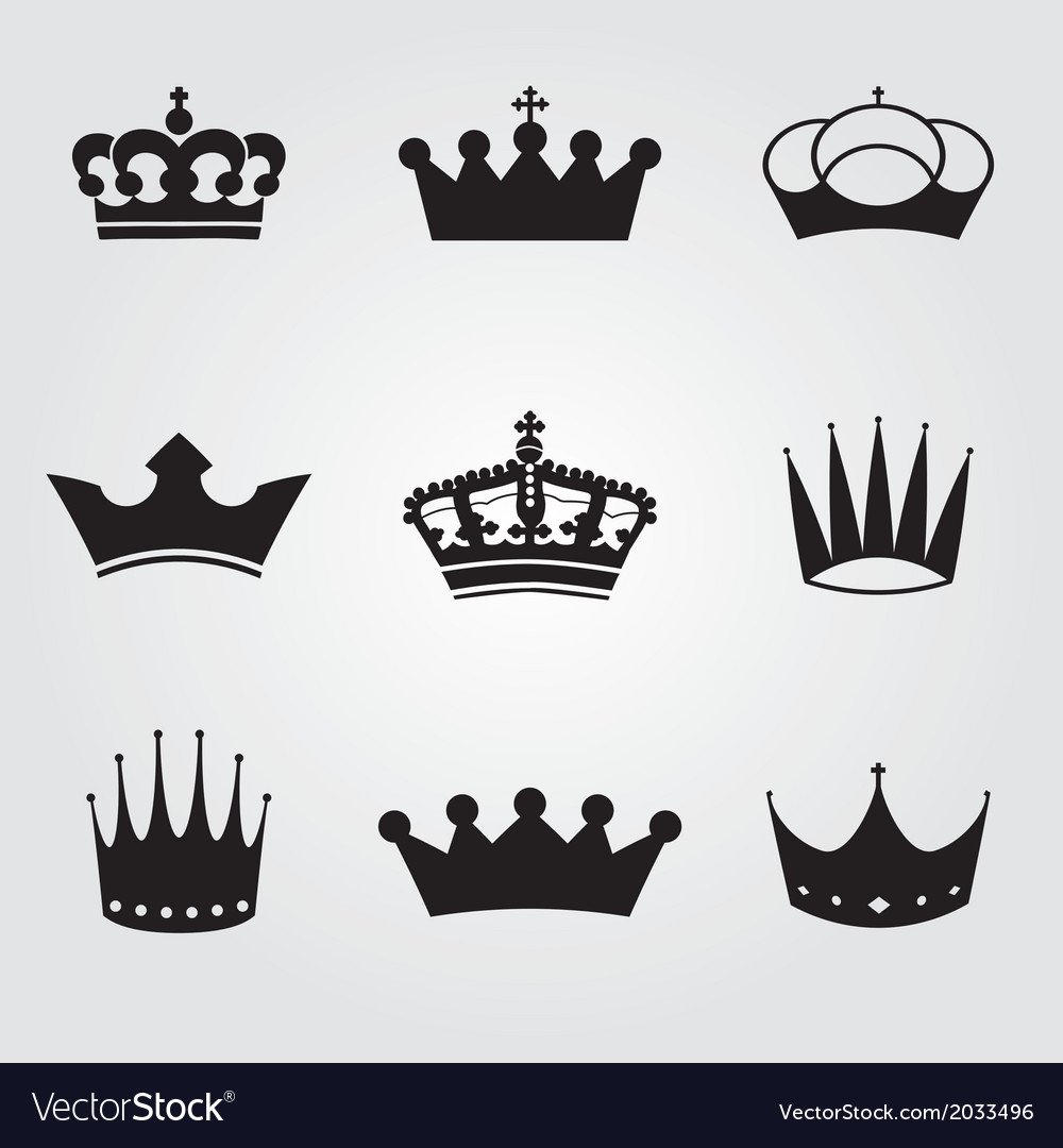Monochrome vintage antique crowns vector
