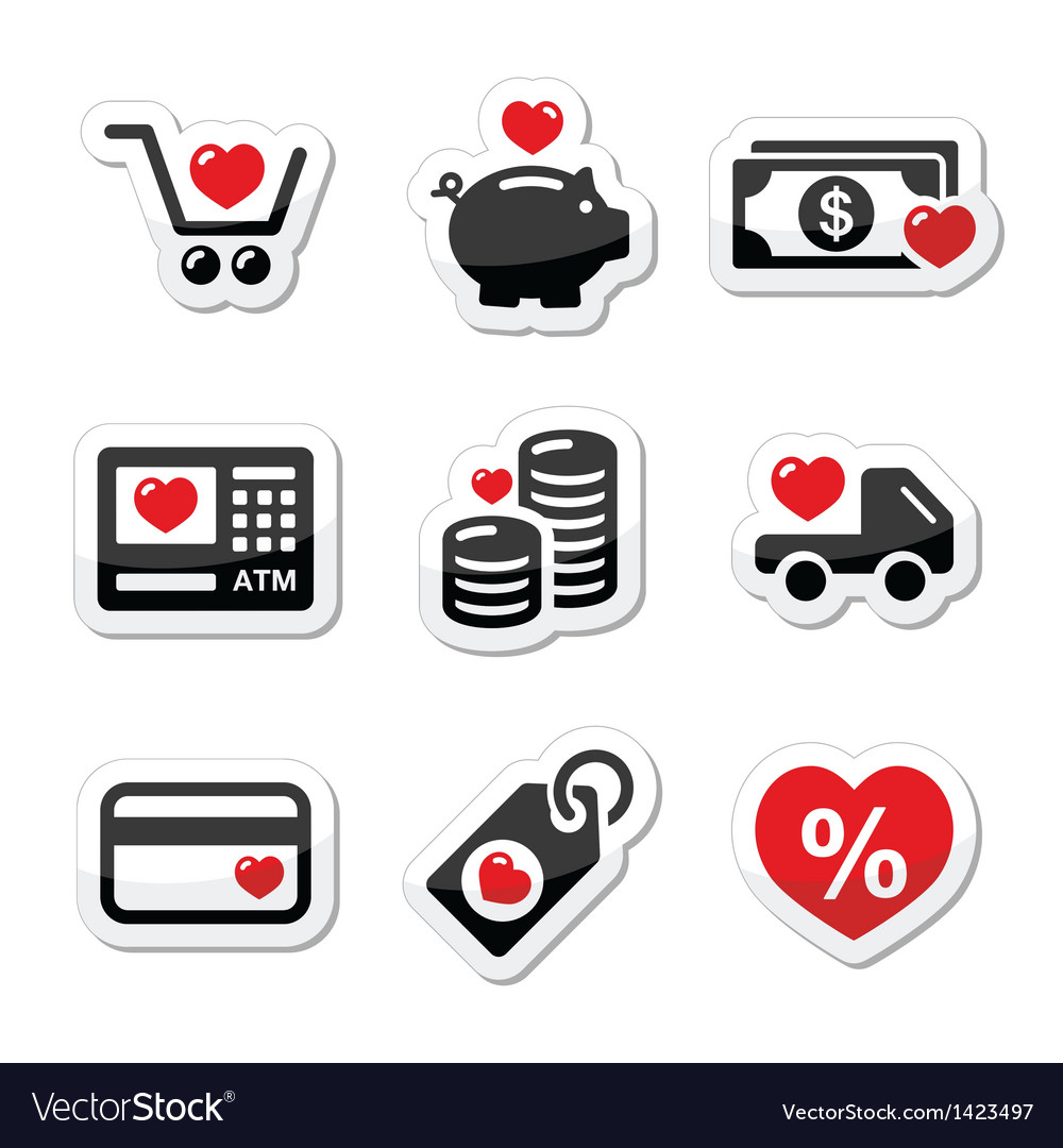 I love shopping i love money icons vector