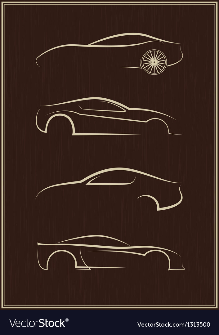 Calligraphic car logo set vector