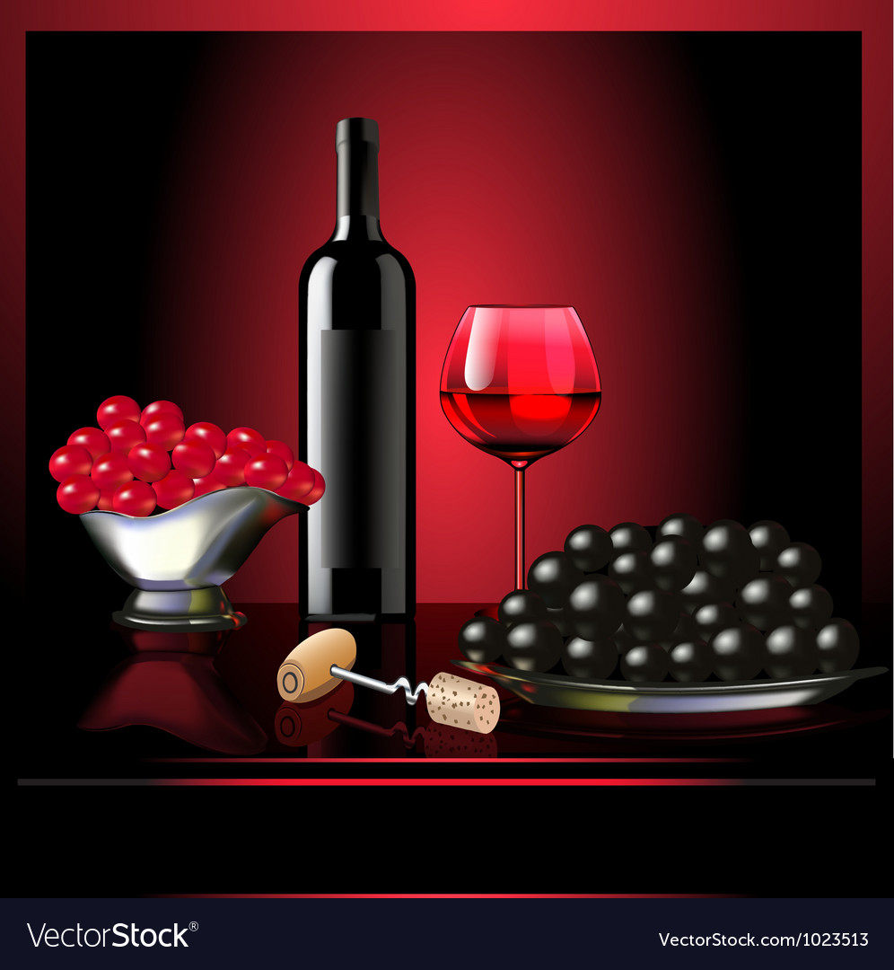 Wine goblet grape on dark background vector