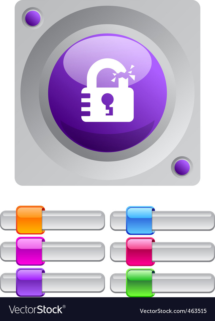 Unlock color round button vector