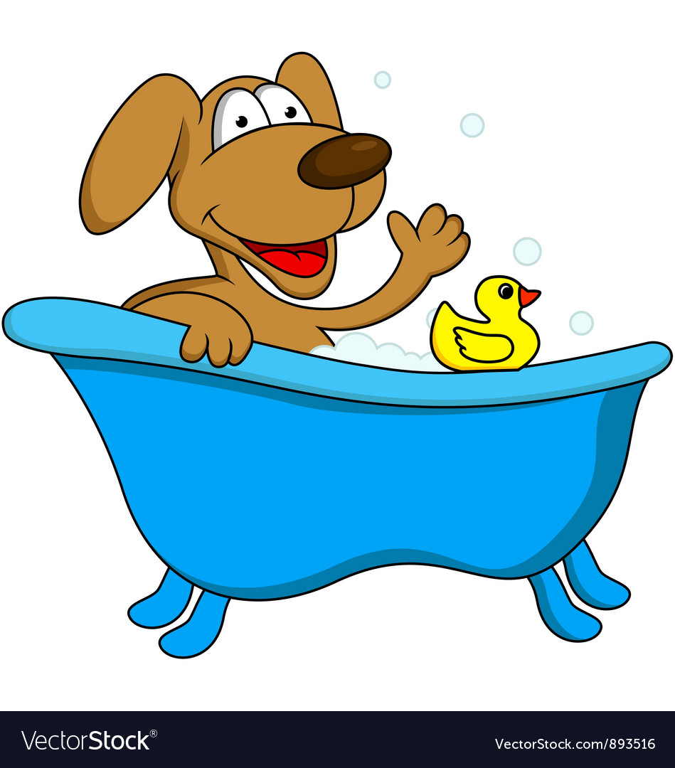 Dog bathing vector