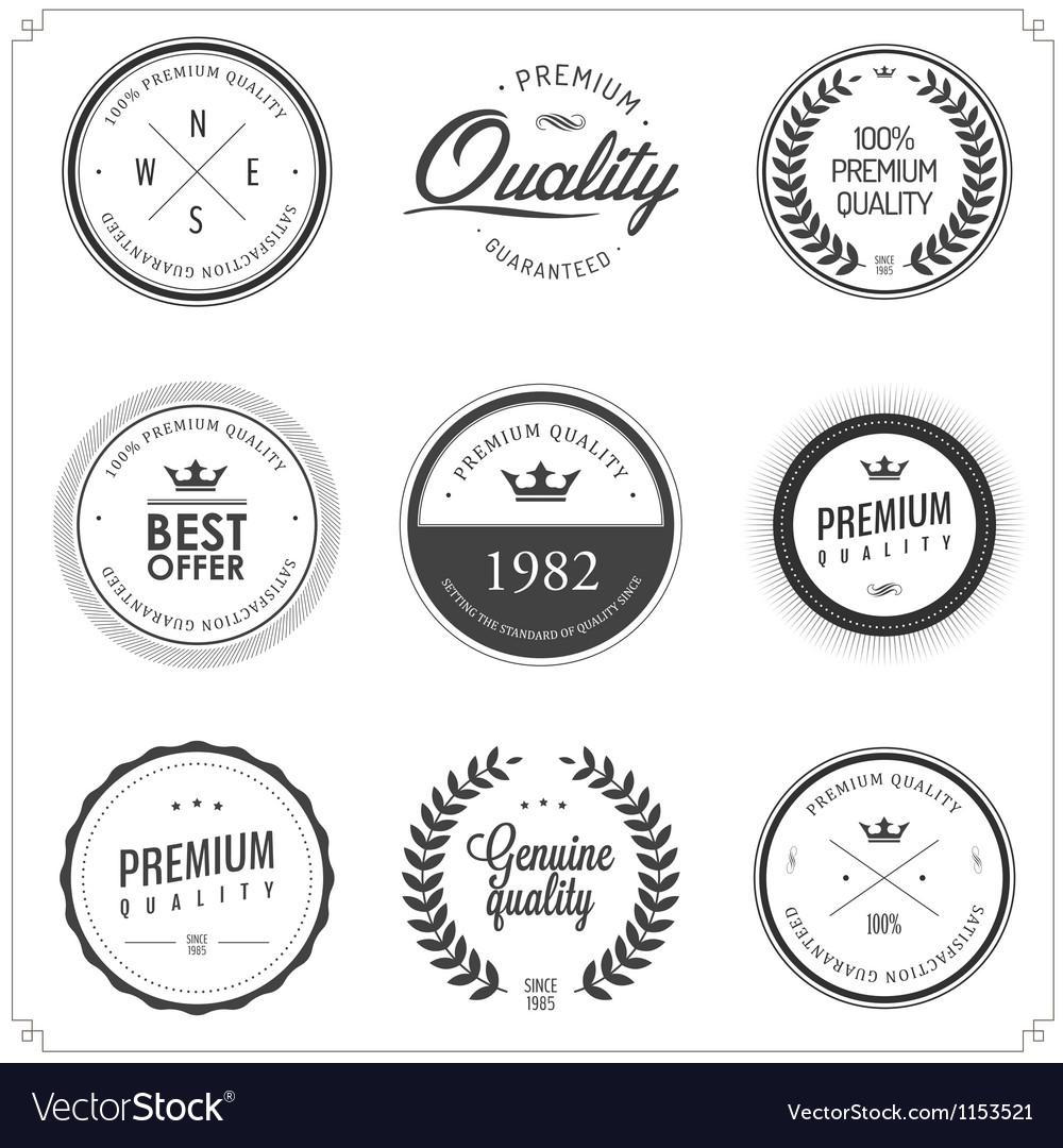 Set of vintage monochrome retail labels and badges vector