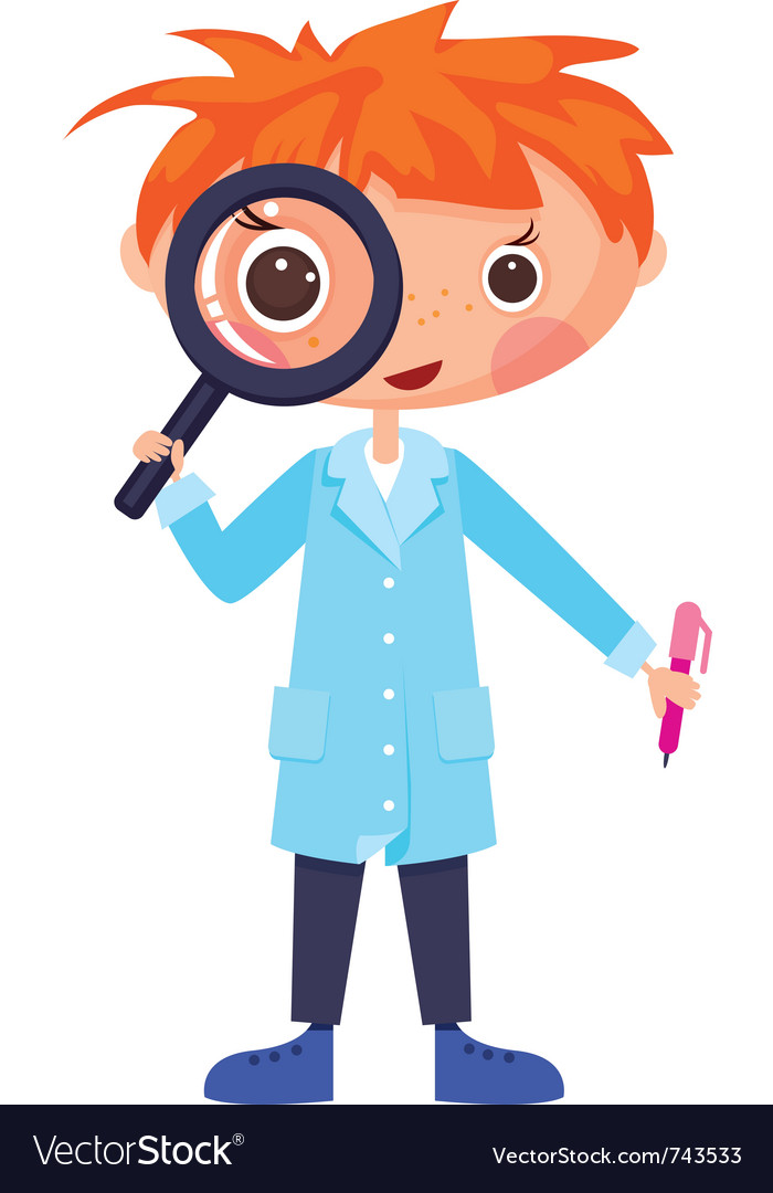 Cartoon scientist and magnifying glass vector