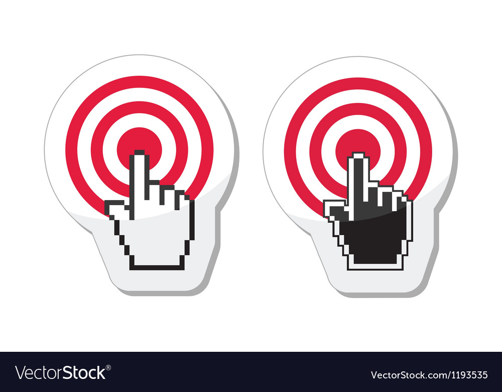 Target with cursor hand icon vector