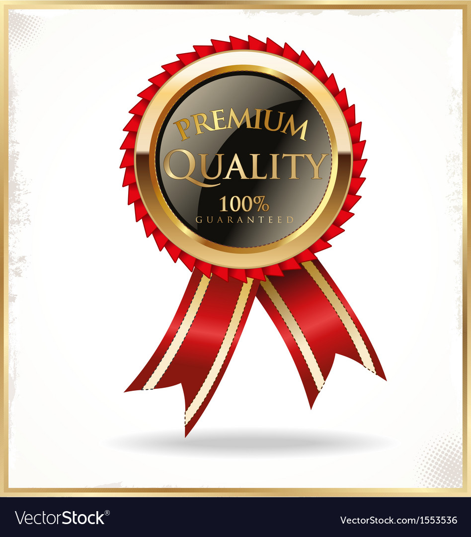 Premium quality black and gold label vector