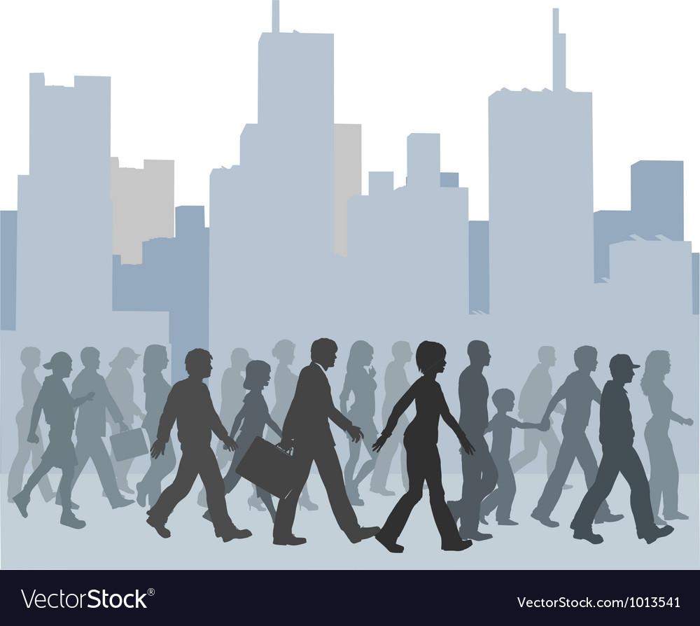 Crowd of people walking city skyline vector