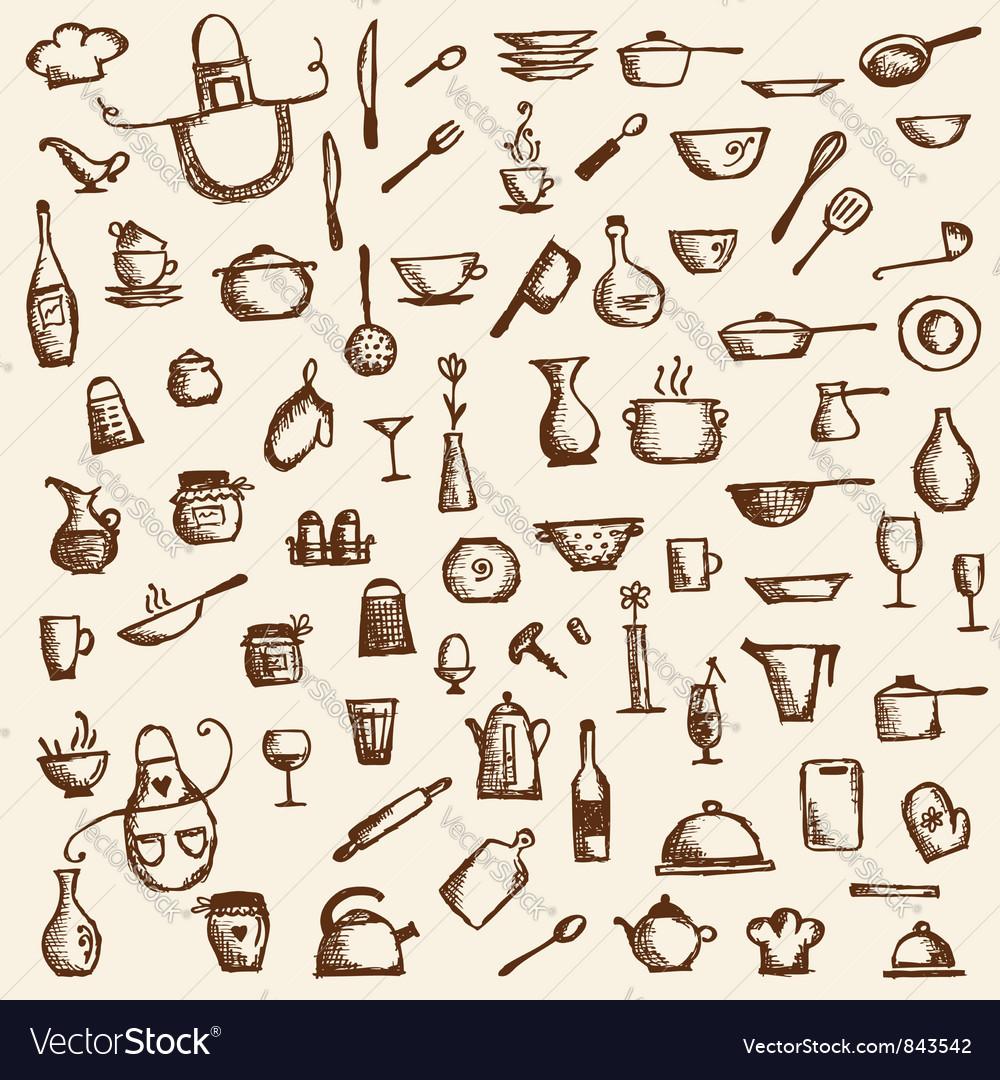 Kitchen utensils sketch drawing vector