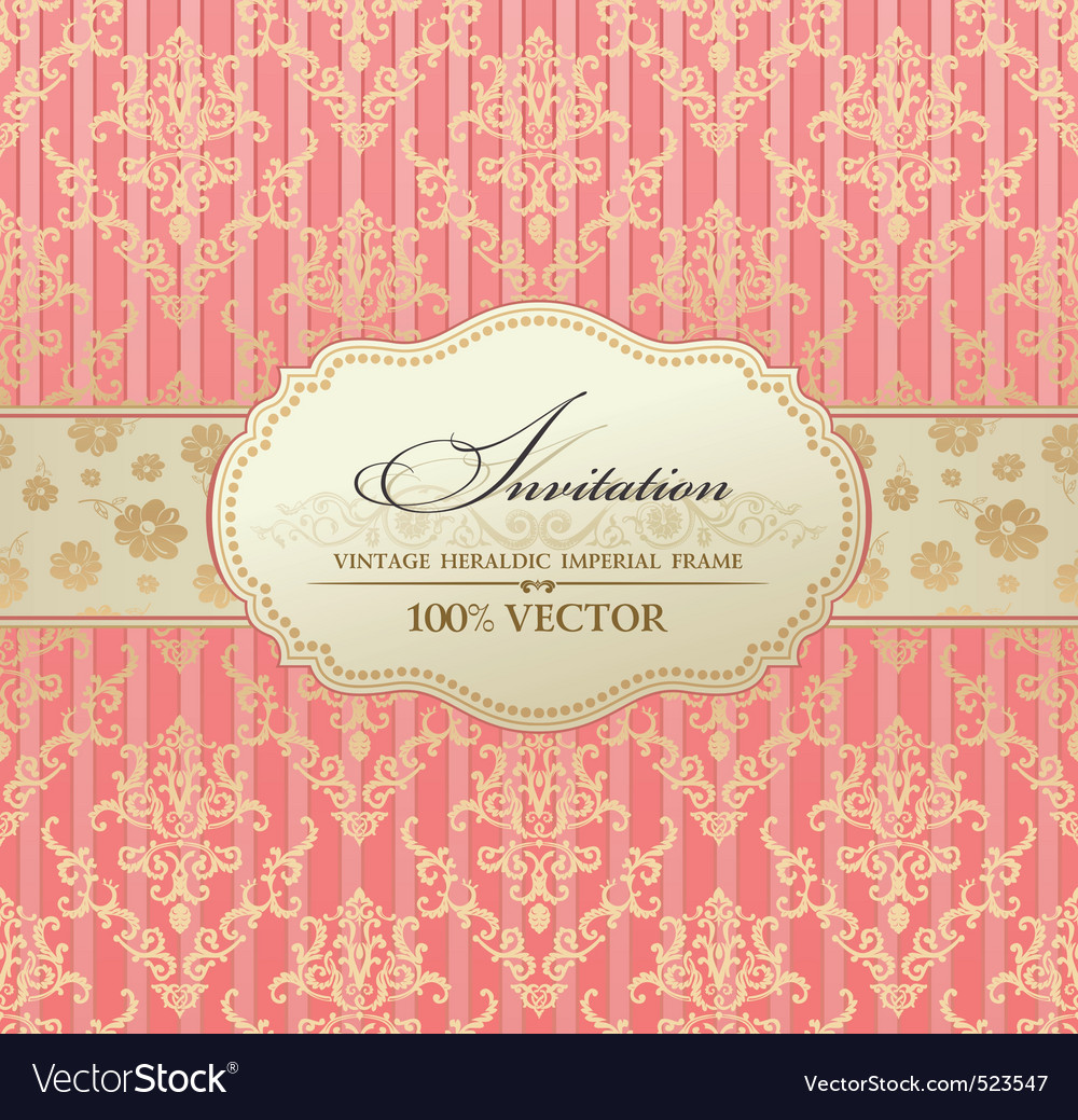 Invitation vintage label  frame pink vector