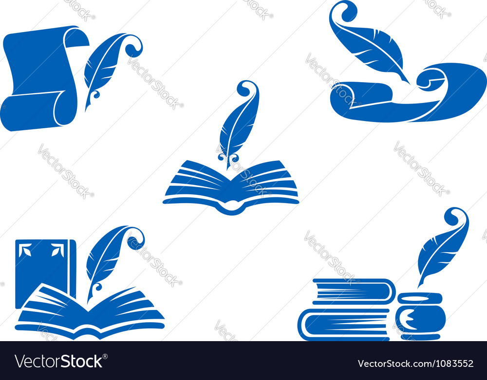 Books manuscripts and feathers icons vector