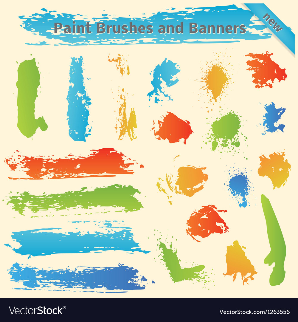Brushes and paint banners vector