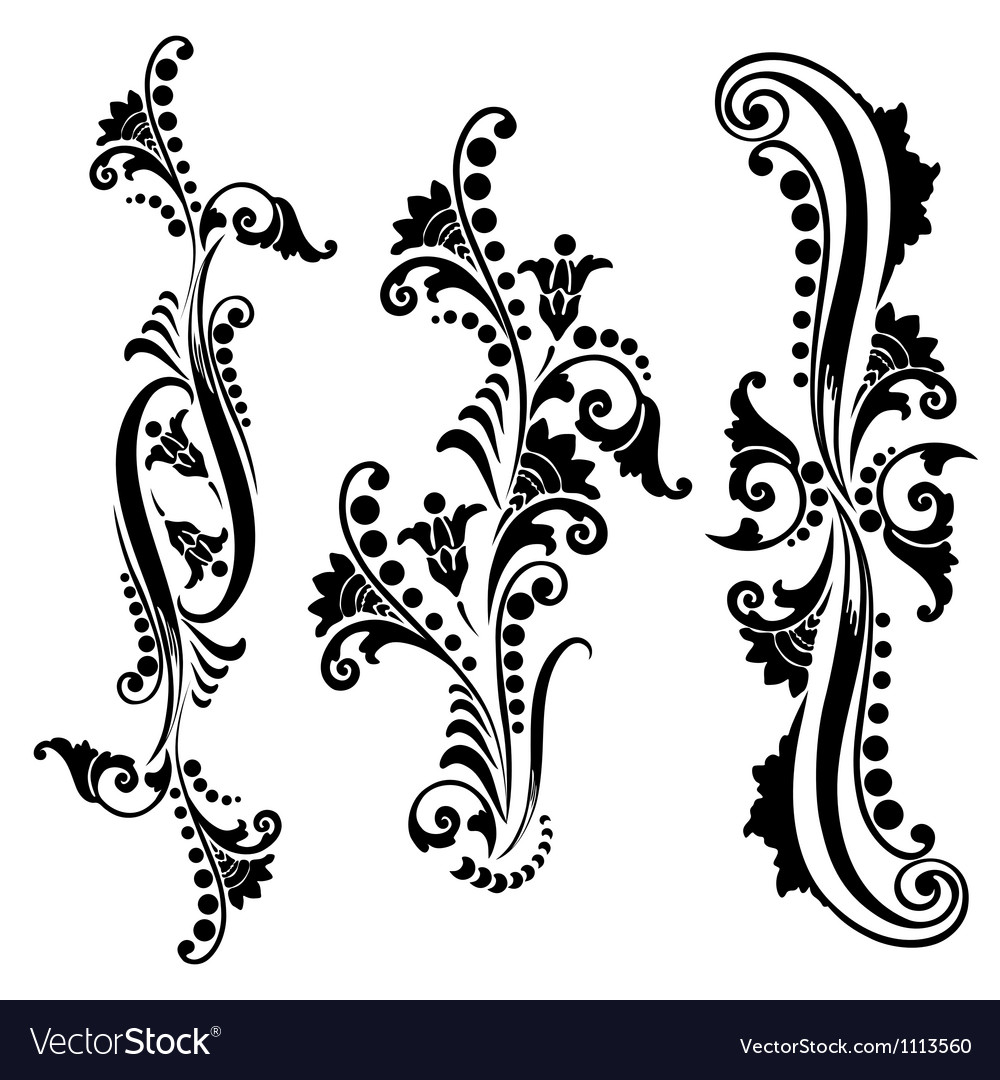 Set vintage swirling floral elements vector