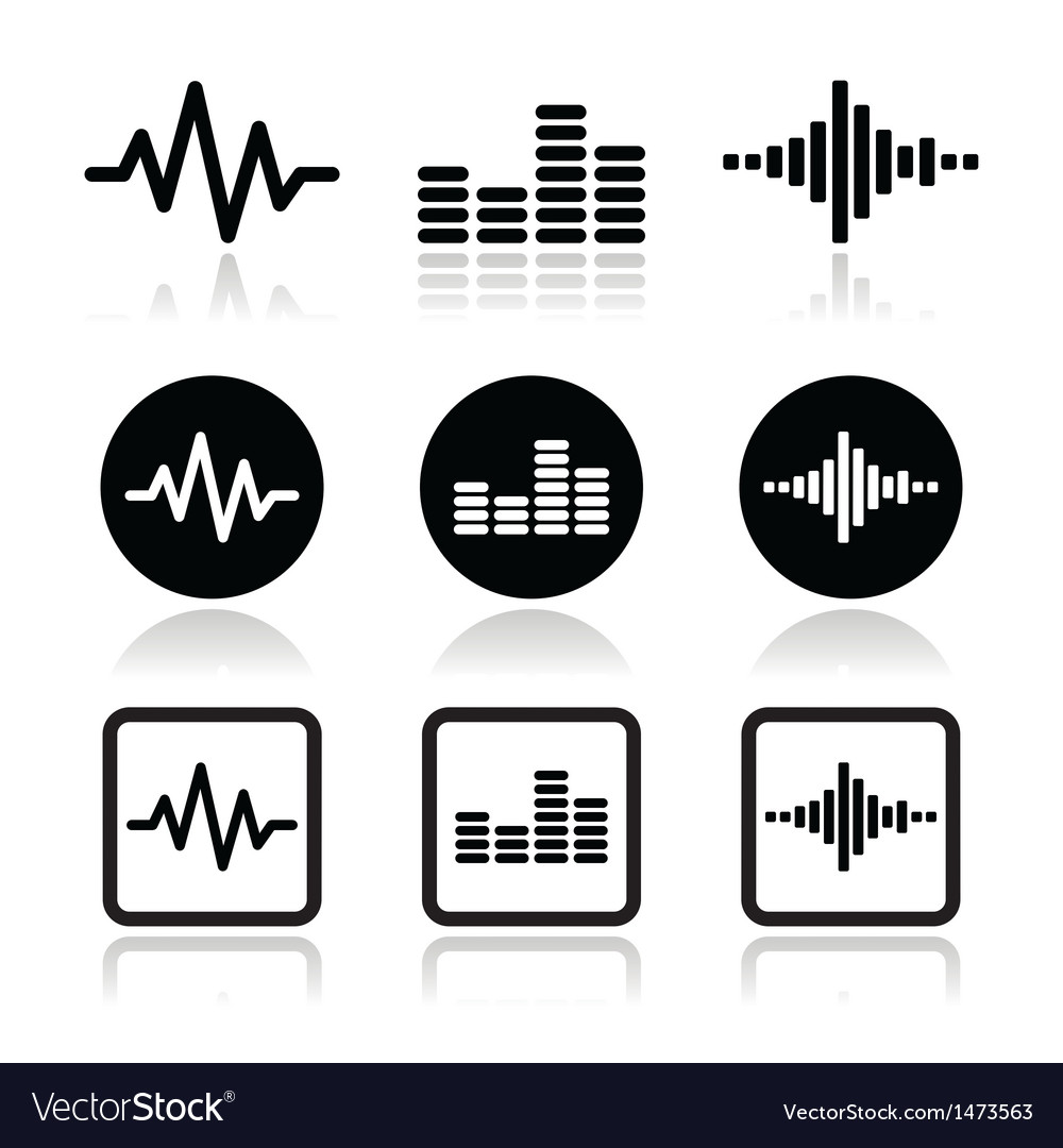 Soundwave music icons set vector