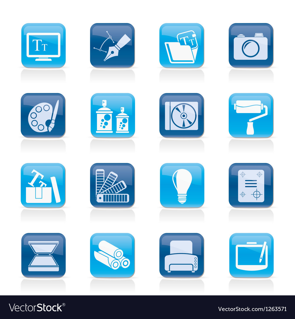 Graphic and website design icons vector