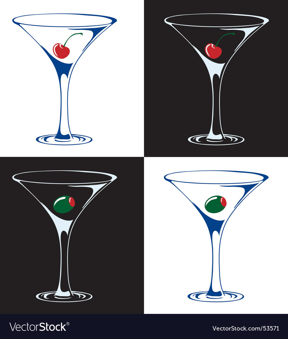 Martinis with cherries or olives vector
