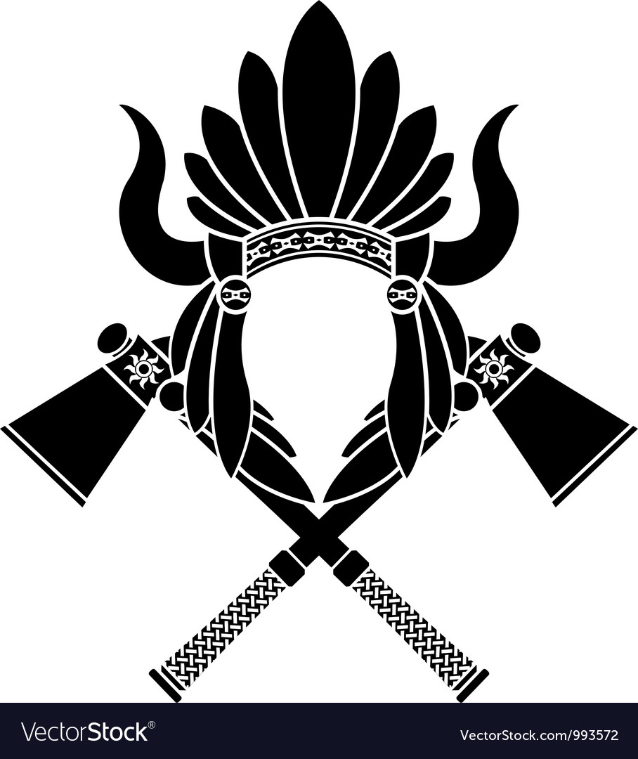 American indian headdress and tomahawks stencil vector