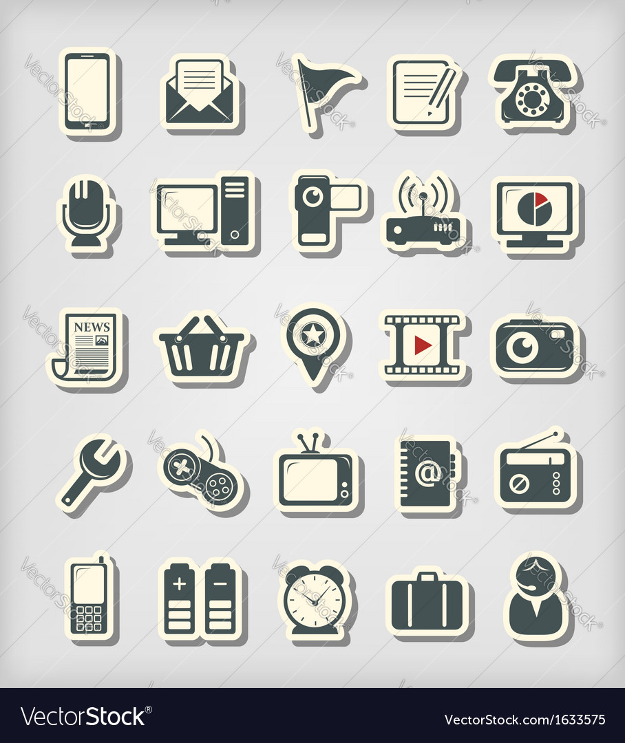 Universal icons paper cut style vector