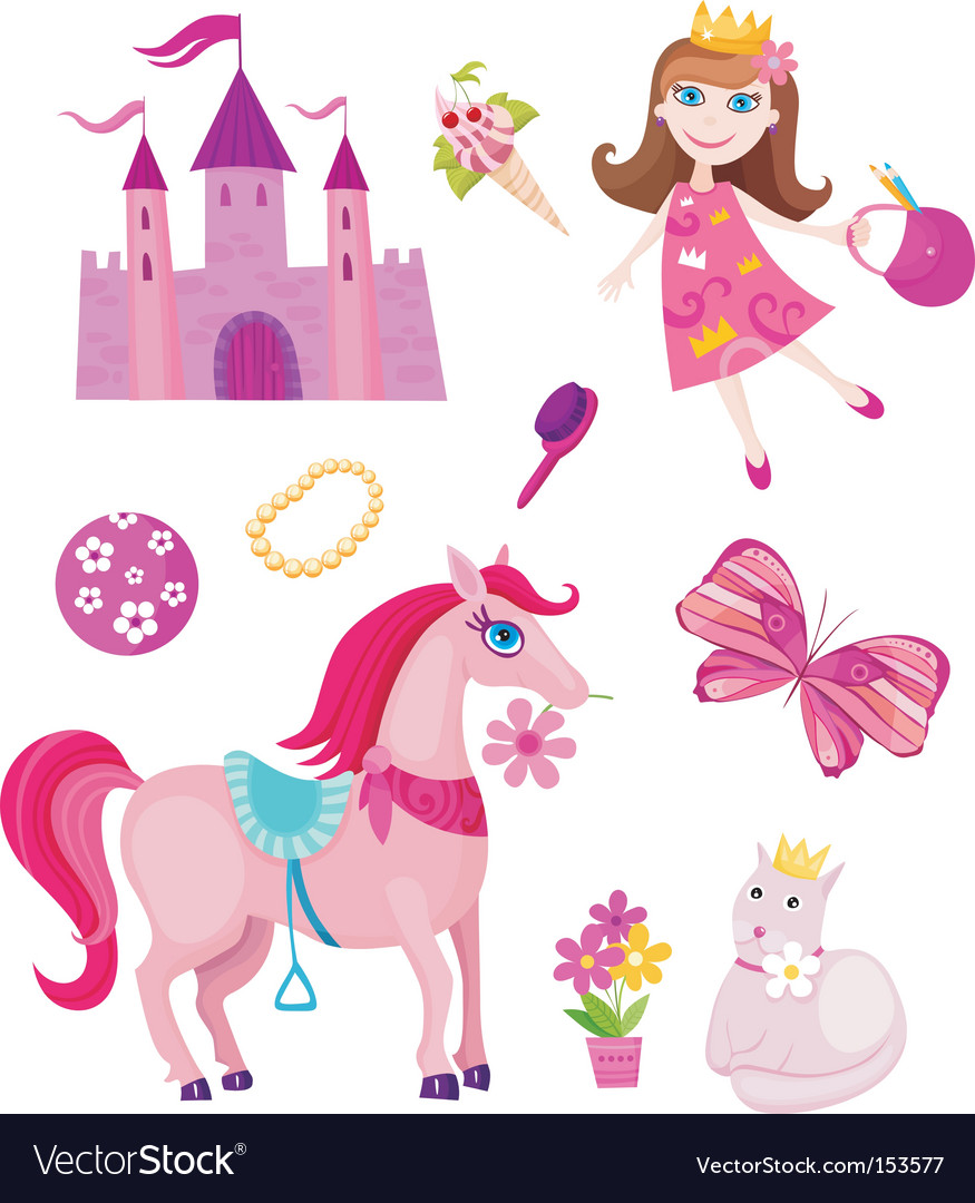 Princess elements set vector