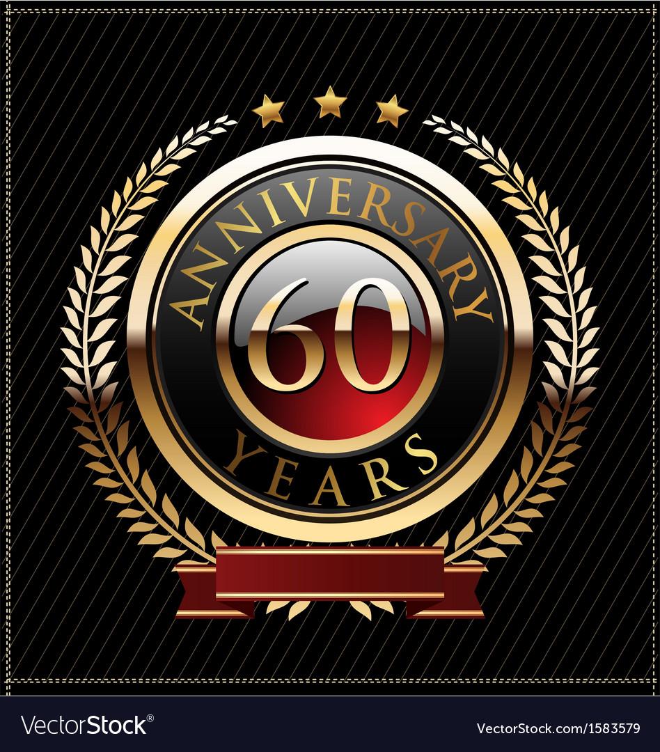 60 years anniversary golden label vector