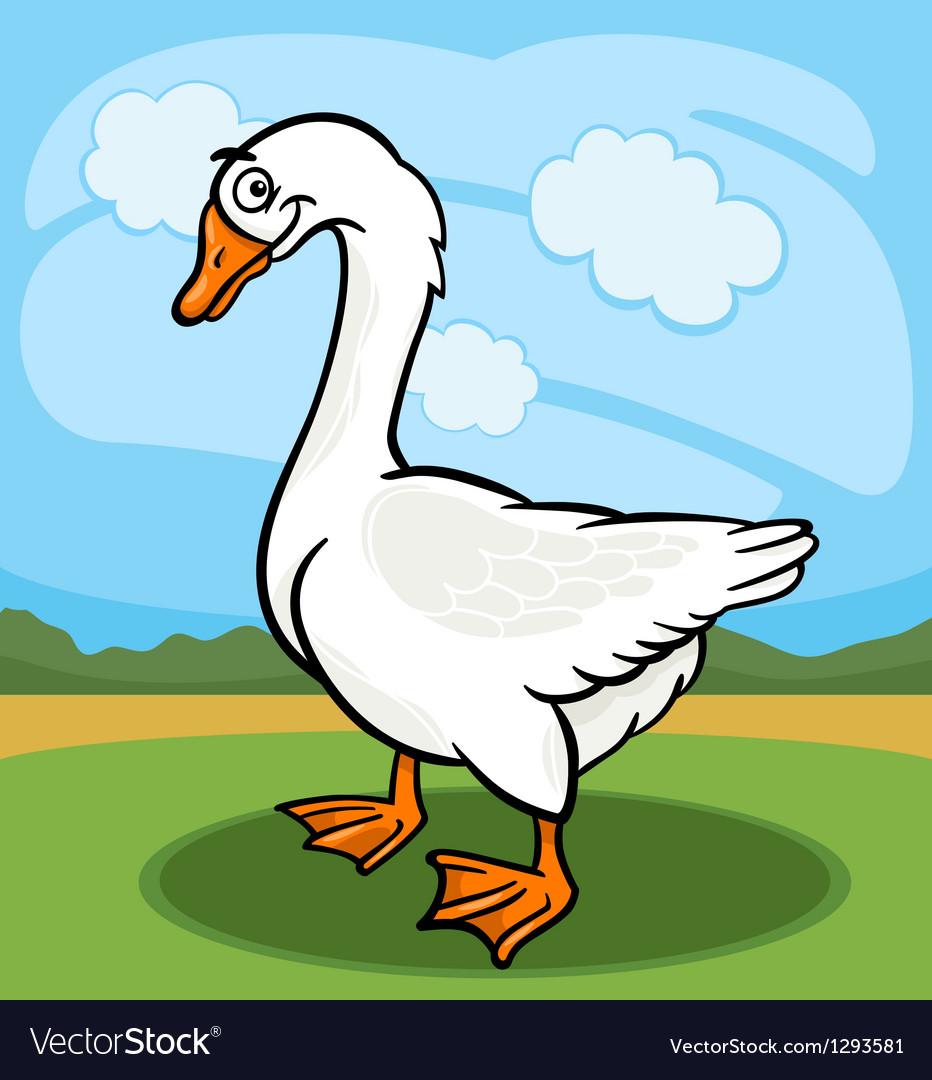 Goose bird farm animal cartoon vector
