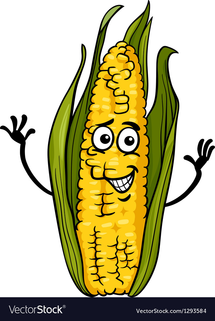 Funny corn on the cob cartoon vector
