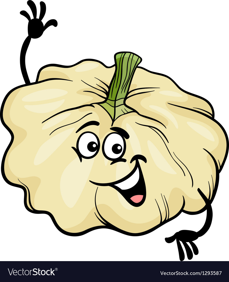 Funny patison vegetable cartoon vector